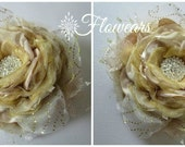 Wedding corsage in ivory champagne gold Wrist flower corsage Bridal accessory Bridesmaids corsage Christmas Fabric flower