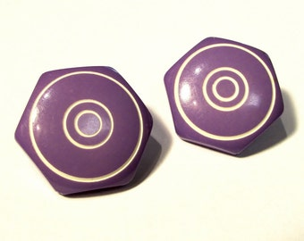 """Violet Hexagons: 7/8"""" (22mm) Buttons with Etched Concentric Circles - Set of 2 Vintage Buttons"""