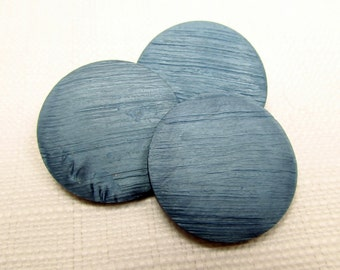 """Blue Hawaii: Large 1-1/8"""" (28mm) Textured Buttons - Set of 3 Matching Buttons - Vintage New Old Stock Buttons"""