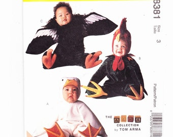 McCalls 8381 Size 3 Uncut Toddlers Costumes for Duck, Condor, Rooster