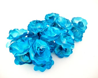 Medium Scalloped Pedal Turquoise Blue and White Mulberry Paper Roses Flowers -3 Bunches