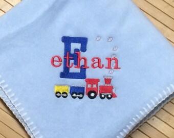 Monogram Train Baby Blanket Personalized Free