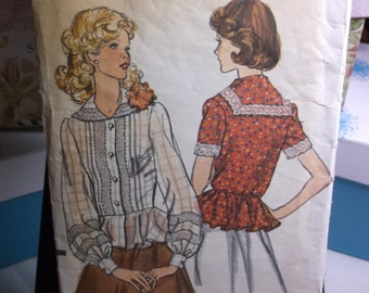 Lace Blouse with Sailor Collar and Peplum Vintage Sewing Pattern Vogue 9091 Size 10