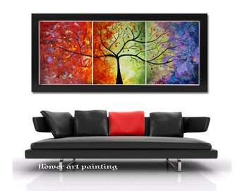 Abstract painting, large tree art, colorful print, art print, abstract print, landscape print,print on canvas, orange art, huge print
