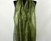 "Thai Raw Pure Silk Scarf  12x62"" Long Scarf Neck Scarf Handdyed in Seaweed Green R26"
