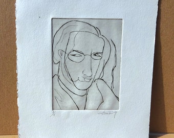 Vintage Original Black and White Etching by artist Hsraki Y. - Picasso Style