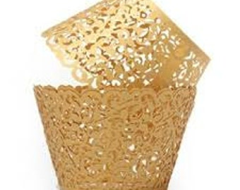 Set of 50 - Gold Lace Filigree Cupcake Wrapper or Liners - Wedding Bridal or Baby Shower decorations