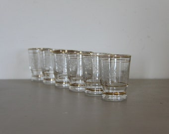 Pretty French Liquor Glasses Decorated with Flowers and Gilding Set of 6 Shabby Chic