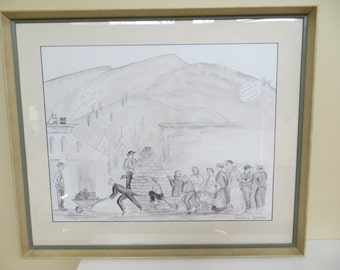 Vintage Art Painting Pencil Watercolor / Aspen Colorado JEROME HOTEL / signed Grandma Goodrich October 1952
