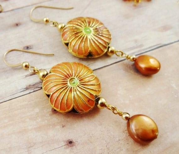 Cloisonne and Pearl Earrings, Flower Earrings, Orange Earrings, Large Earrings, Boho Earrings, Enamel and Pearl Earrings, Copper Pearls