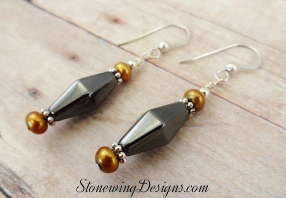 Hematite Earrings, Hematite and Pearl Earrings, Gray and Brown Jewelry, Metallic Stone Jewelry, Stone Earrings, Elegant Jewelry
