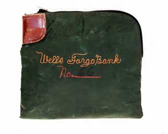 Antique Wells Fargo Bank Embroidered Arco Rifkin Deposit Bag Security Pouch 1930s