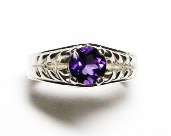 "Amethyst, amethyst ring, birthstone ring, solitaire ring, purple ring, purple, s 7 ""Crazy about you"""