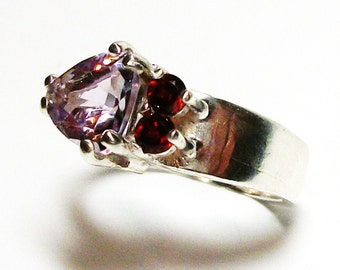 "Amethyst, violet amethyst, amethyst garnet, 3 stone ring, violet red, anniversary ring, s 7 1/4  ""A touch of Violet"""