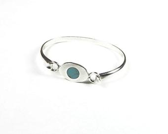 Sterling Silver Turquoise Bracelet Vintage Turquoise 925 Sterling Silver Mexico 1970s Cuff Bracelet