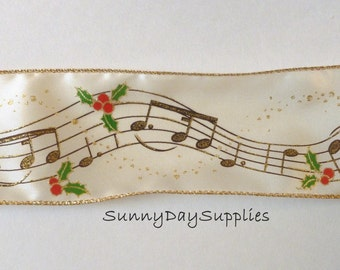 Christmas Music Ribbon ~ Musical Notes, Music, Wide Wired Ribbon, Ivory and Gold, Holly Berries, 2.5 inches wide, 2 Yards, Christmas Ribbon