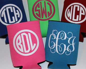Monogrammed Can Holder - Personalized Huggie - Can cozie - Monogram drink holder - Personalized Gift - Summer Gift - Beach can holder