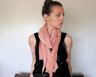 Organic Cotton Scarf Wrap Natural Dye Quebracho Madder Cocineal Ombre Medium Size. Gift for her. Boyfriend gift.