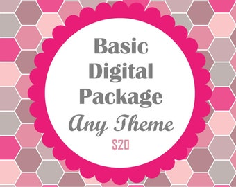 Do It Yourself Basic Party Package- DIY Files ANY THEME