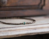 brasse gem bracelet - mens small bead bracelet with green gem from Maria-Helena Design