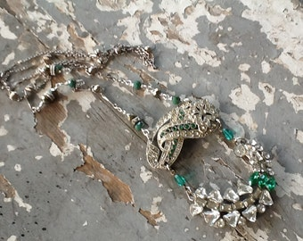 Rhinestone Assemblage Necklace Art Deco Repurposed Jewelry Recycled Upcycled