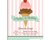 Ice Cream Invitation Printable or Printed with FREE SHIPPING - Pink and Teal Ice Cream Shoppe Collection
