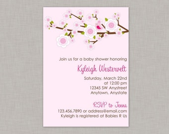 Girl Baby Shower Invitation, Bird Baby Shower invitation, Cherry Blossom Invitation
