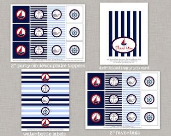 Nautical Birthday, Nautical Birthday Decorations, Nautical Party, Printable