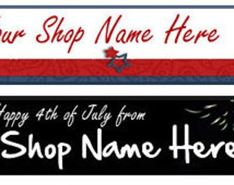 Etsy Facebook Website Blog Cover Photo  Ready Made Patriotic Flag American Red White Blue Black Banner  - You Pick One
