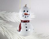 Snowman Ornament 404, Hand Painted Gourd Christmas Ornament, Natural Gourd Art, 3D Snowman, Winter Snow Decor, Cute Snowman Art, WinterGift