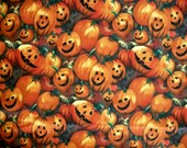 Pumpkin Halloween Fall Fabric By The Yard Quilting Sewing Alexander Henry Pumpkin Patch OOP Fabric