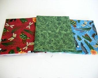 Fat Quarter Fabrics Bundle, 3 Nature Fabrics, Woodland, Rustic, Quilting Sewing Fabric, Accent Fabric, Loons, Cotton, Designer Fabrics
