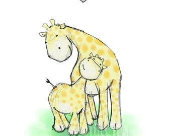 Nursery Art, Giraffe Love - 8x10 Print