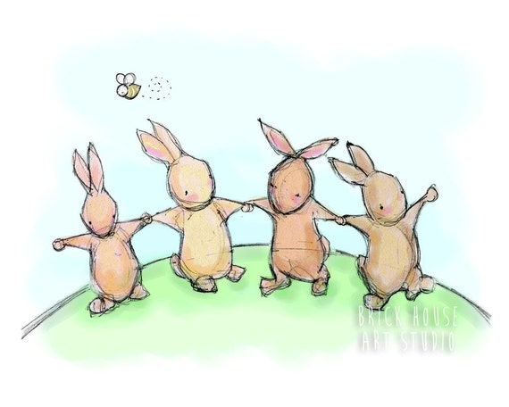 Nursery Art, Dancing Bunnies Children's Illustration - 5x7 Print