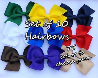 Set of 10 Basic Hair Bows~You Pick the Colors~Boutique Hair Bow~Large Pinwheel Bow~Solid Color Hairbows~Boutique Hairbows~Simple Hair Bow~