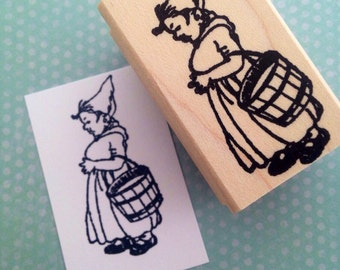 Lady Garden Gnome  Rubber Stamp 6416