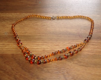 vintage necklace amber glass beads choker