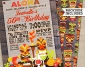 Printable Hawaiian Tiki, Hawaiian Luau Birthday Invitation, Hawaiian Luau Invitation, Luau Party, Hawaiian Invitation, Tiki Invitation