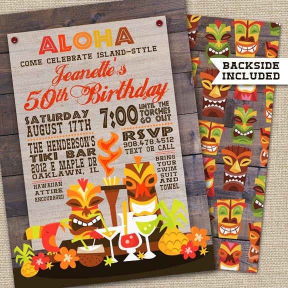 Luau Party Invitation Luau Birthday Invitation Hawaiian Tiki – Hawaiian Party Invitations Printable