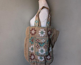 1970s Embroidered Burlap Market Bag. Hessian Rustic Folk Tote .
