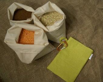 Sale - Set of 3 Organic Bulk Food Bags w/ Organic Green Carry Pouch & Carabiner - Use for Bulk Flour, Grains, Legumes w/ opt Drawstrings