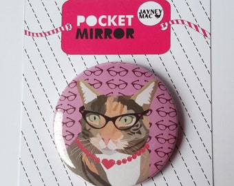 Cat Pocket Mirror- Tortoiseshell Cat with glasses