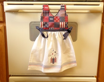 Red White and Blue Firecrackers - Hanging Kitchen Towel