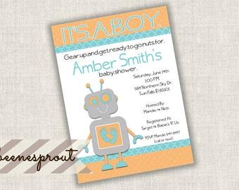 Robot Boy Baby Shower Invitation