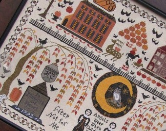 Autumn on Lazy Bear Mountain : Kathy Barrick counted cross stitch patterns sampler Halloween October hand embroidery