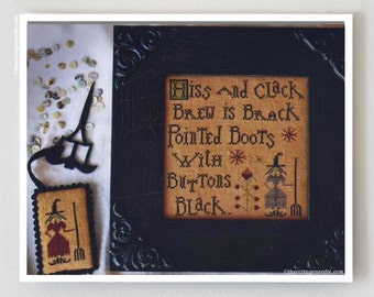Buttons Black cross stitch patterns by Plum Street Samplers by thecottageneedle.com Halloween October Autumn hand embroidery