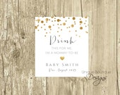 Pregnancy Announcement Printable Wine Label | Gold Foil Confetti with Heart | Drink this for me I'm a Mommy to be | Mini label or Standard