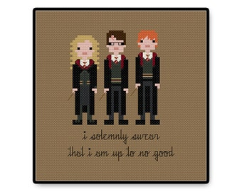 Harry, Ron, and Hermione - Cross Stitch PDF Pattern