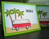 Hawaii Thank You Card Set of 3, Mahalo Cards, Aloha, Summer Cards, VW Bus