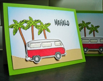 Hawaii Thank You Card Set of 3, Mahalo Cards, Aloha, Summer Cards, VW Bus